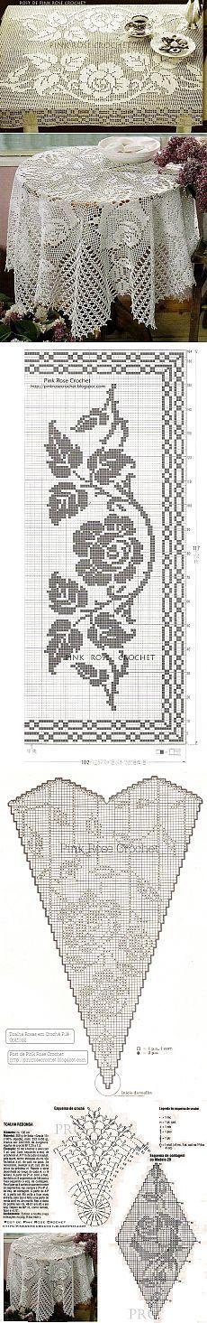 Loin tricot, TROIS NAPPES avec des roses.