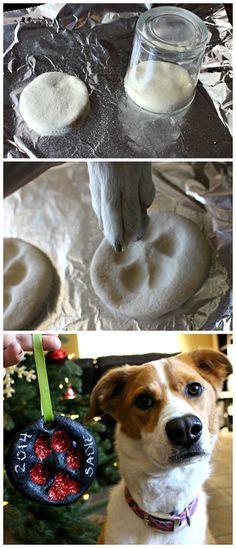 DIY Salt Dough Puppy Paw Print Christmas Ornaments #Recipe #Chalkboard paint | CraftyMorning.com
