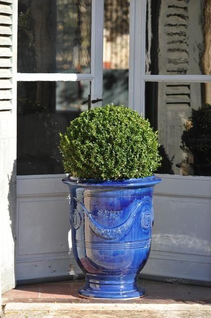 Vase d'Anduze Tradition couleur bleue émaillée