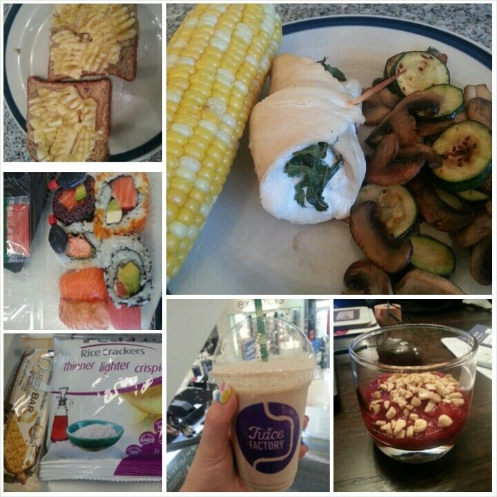 16 Feb 15 B: 2x sunbutter toast with banana S: raw cacao smoothie L: sushi S: rice crackers and quest bar D: stuffed chicken, corn and mushrooms and zucchini S: chia pudding