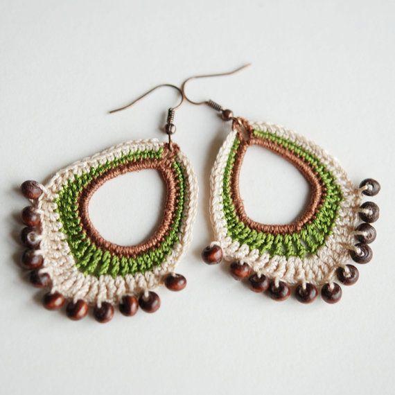 Crochet boho beaded dangle earrings by Shepit on Etsy