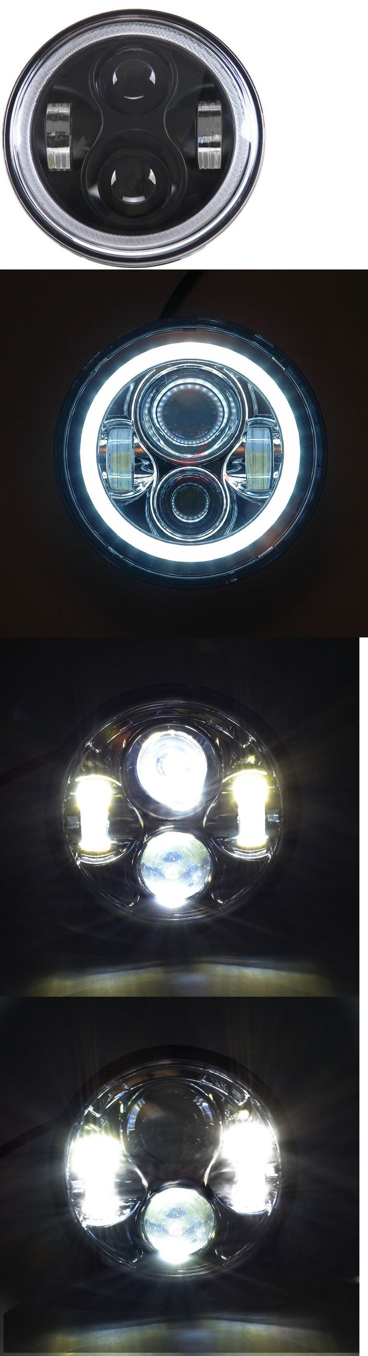 motorcycle parts: Light-Haus 5 3 4 Black Led Daymaker Headlight W Halo Ring - Hd Sportster Dyna -> BUY IT NOW ONLY: $99.99 on eBay!