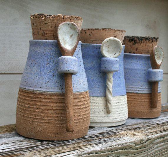 salt jar with spoon, spice jar, kitchen canister, stoneware salt pot, rustic blue, matte white, speckled, minimal pottery, rustic kitchen,