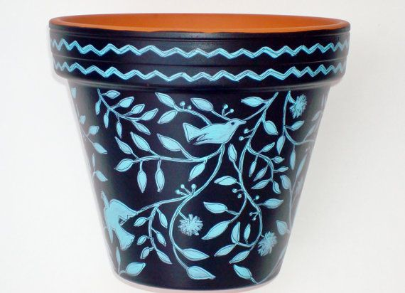 Hand Painted Pot Sanctuary in Pool Bird Watching by ThePaintedPine, $25.00