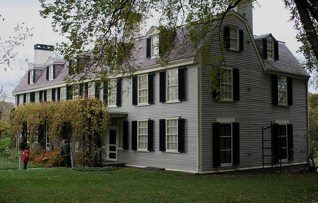 Peacefield (John Adams home in Quincy)    Quincy, Massachusetts. John and Abigail Adams lived here many years, and so did many descendants. The family kept everything just as it was until it was presented to the Park Service, and the contents are preserved intact to this day. That seems to be very rare for historic houses! The outside still looks just as it did in old pictures.