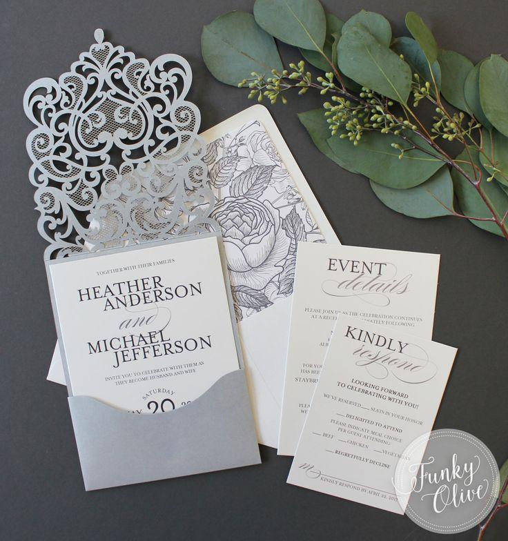 sample spanish wedding invitations%0A Silver Laser Cut Wedding Invitation Jewel Response Details Card Vintage  Botanical Envelope Liner DEPOSIT or SAMPLE Elegant Custom Colors