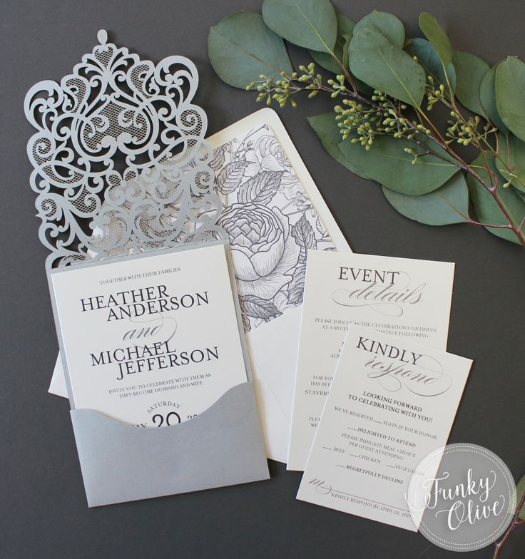 inexpensive wedding invitations with response cards%0A Silver Laser Cut Wedding Invitation Jewel Response Details Card Vintage  Botanical Envelope Liner DEPOSIT or SAMPLE Elegant Custom Colors