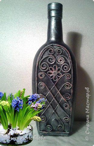 Декор предметов Аппликация из скрученных жгутиков Пейп-бутылочка Грузия Салфетки фото 1