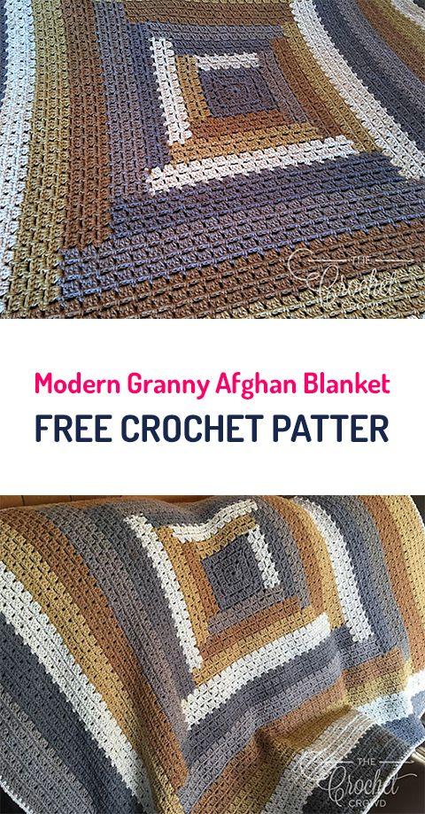 Modern Granny Afghan Blanket Free Crochet Pattern #crochet #homedecor #yarn #style