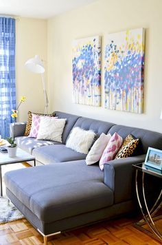 NYC colorful apartment living room