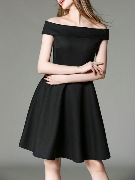 Plain Elegant Slash Neck Cocktail-dress
