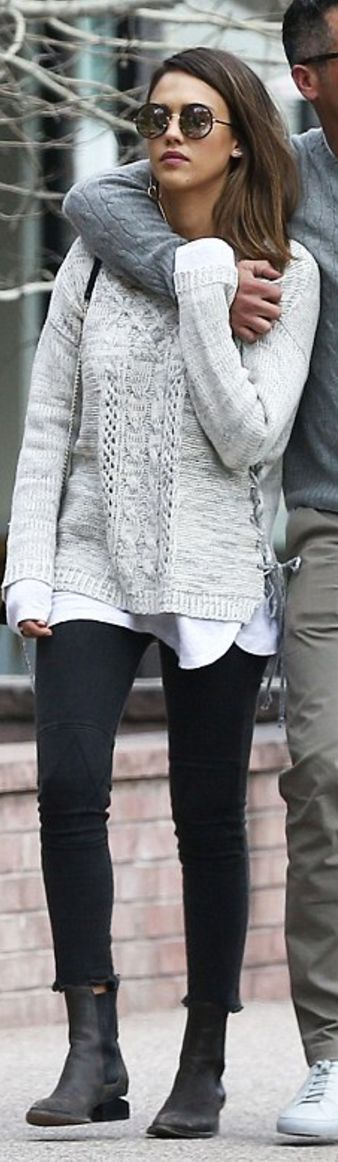 Who made Jessica Alba's gray lace up side sweater, black ankle boots, and round sunglasses?