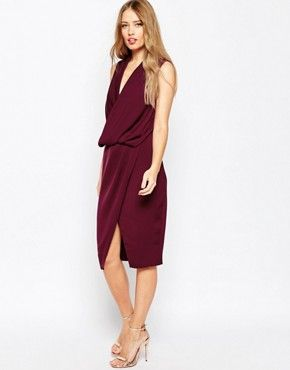 ASOS WEDDING Cowl Neck Midi Dress