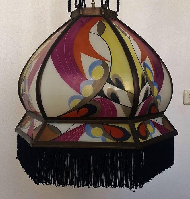 Online veilinghuis Catawiki: Hendrik Cornelis Herens, De Nieuwe Honsel - gebrandschilderde hanglamp