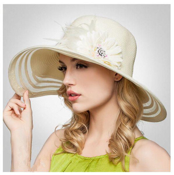 Sweet flower wide brim sun hat for women Rhinestone floppy straw hats beach wear