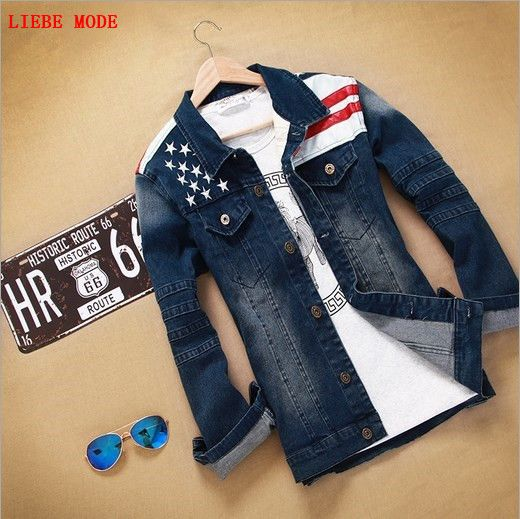 ==> [Free Shipping] Buy Best American Flag Patchwork Denim Jackets Men Hip Hop Clothing Long Sleeve Street Wear Jeans Jackets Coats Slim Fit Outerwear XXXL Online with LOWEST Price   32811839953