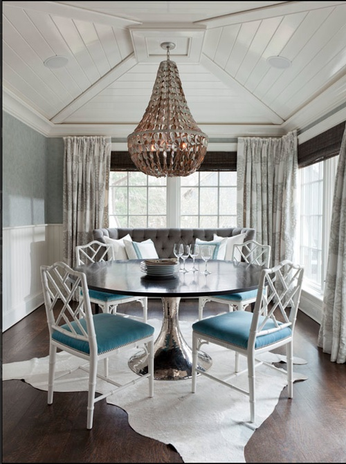 Turquoise White Studded Dining Chairs And Black Silver