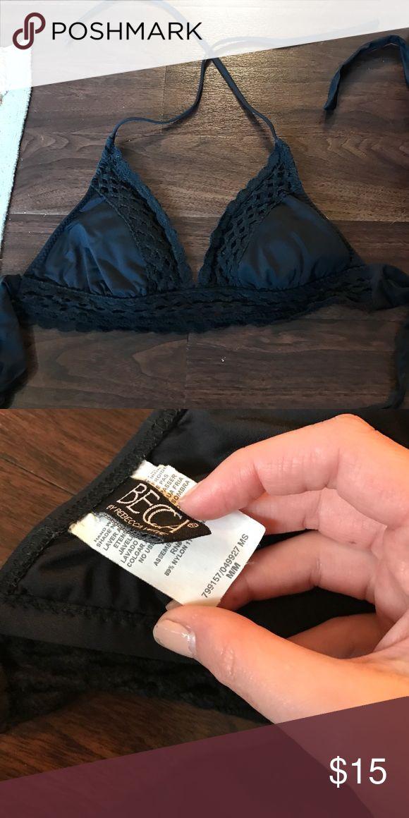Black Becca swim top Super cute crochet trim swim top! Becca brand BECCA Swim Bikinis