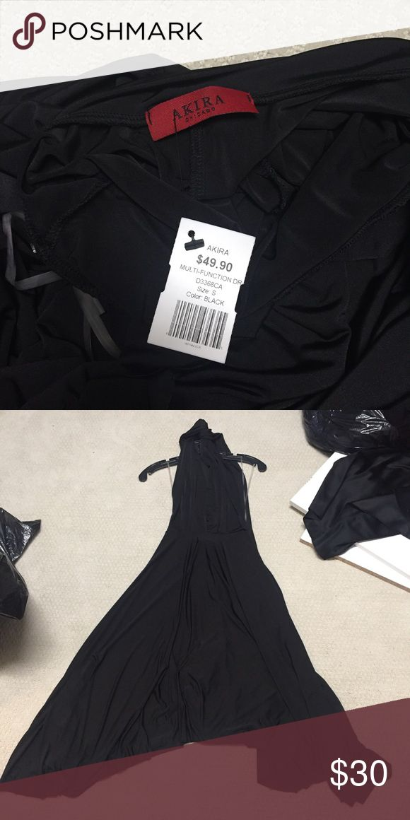 Akira size small multi function dress in black NWT Never worn. Still has tags on it. Brand new condition. This dress can be worn so many different ways. This is the version with the hem hitting the knees. There are two halter like straps that can turn the dress into a halter, strapless or one shoulder dress. The possibilities are endless! AKIRA Dresses