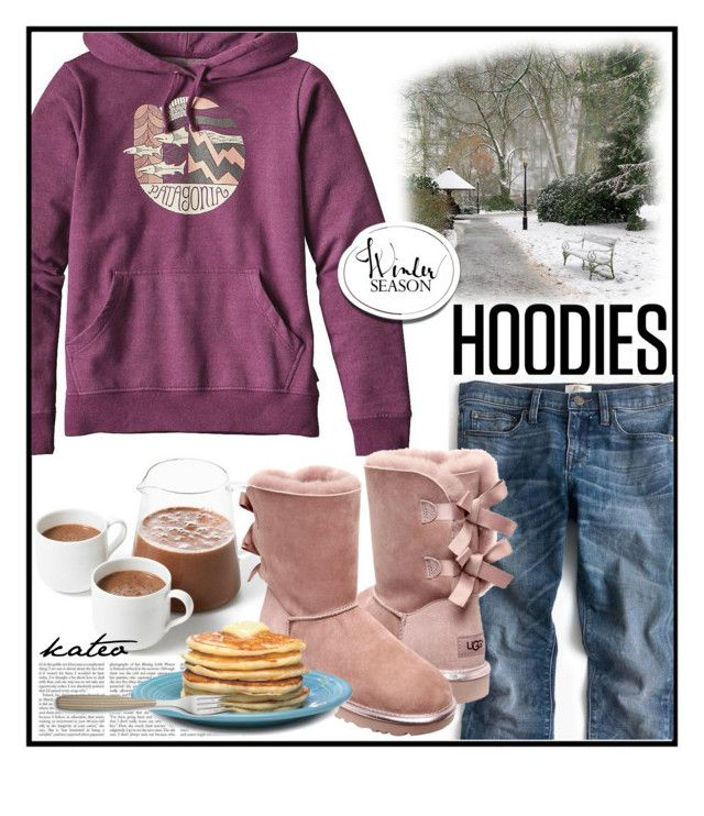 """Good Reason to Stay in . ."" by kateo ❤ liked on Polyvore featuring Patagonia, J.Crew, UGG, Williams-Sonoma, Hoodies and 7215"