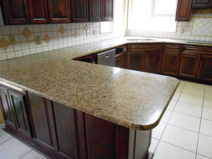 New Venetian Gold 4 8 13Granite Countertops Installed In Charlotte NC 50/50  Sink Half