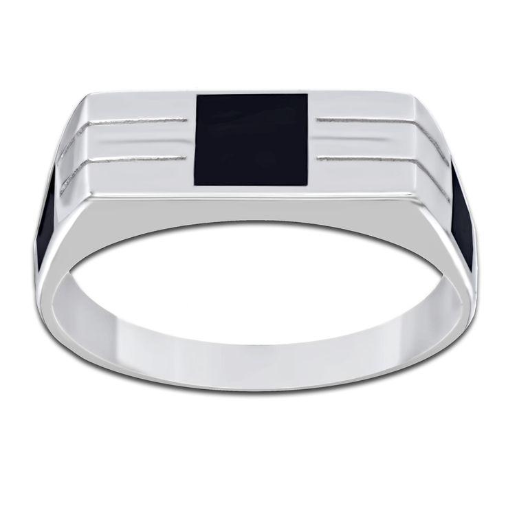 Кольцо из белого золота с черной эмалью.