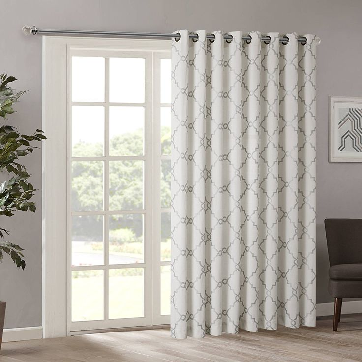 84 Inch Ivory Color Fretwork Sliding Door Curtain Off white Sliding Patio Door Panel Window Treatment Single Panel Modern Design Stylish Curtains