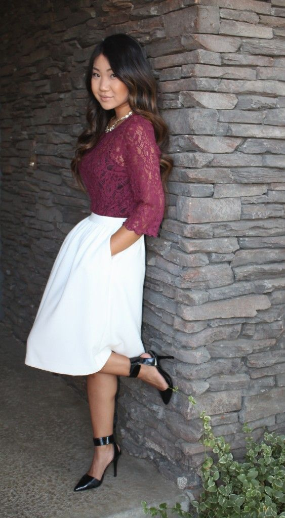Modest church outfit on the blog today! Burgundy lace top, white knee length…
