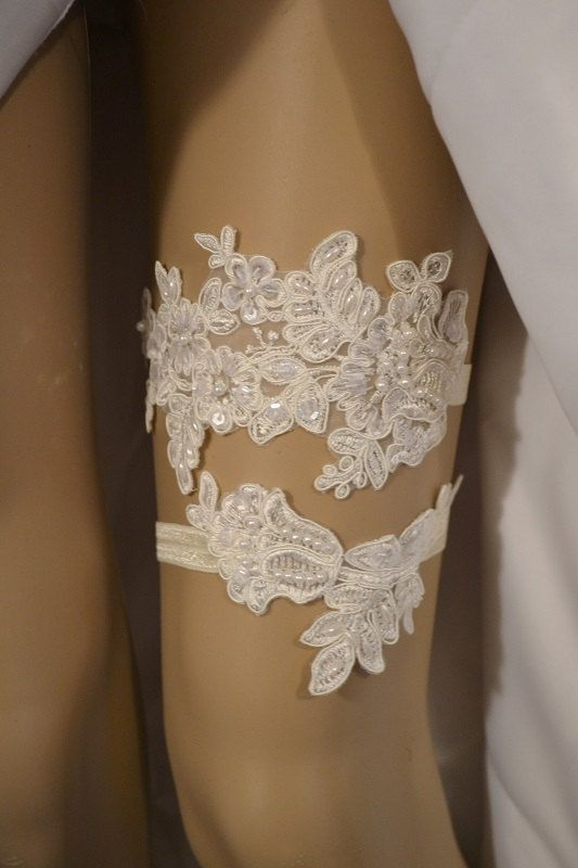 SALE Beaded Lace Wedding Garter Set Ivory Bridal By Special Touch