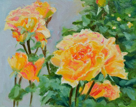 Roses in the rose garden of Hobart's magnificent Botanical Gardens.  Oil painting by Dai Wynn on canvas panel.  20.3 cm high by 25.4 cm wide (8 inches by 10 inches) approximately.  Available for sale at $250.