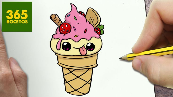 COMO DIBUJAR HELADO KAWAII PASO A PASO - Dibujos kawaii faciles - How to...