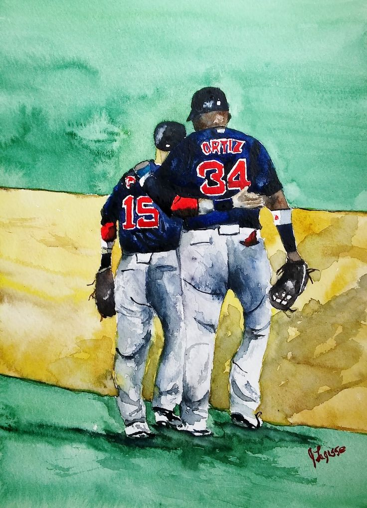 "DAVID ORTIZ, Watercolor Print, Red Sox Painting, , Watercolor Print ORIGINAL - Open Edition ""Big Pap"" David Ortiz-Dustin PedroiaTitle: ""David Ortiz, Dustin Pedroia"". Title: ""David Ortiz, Dustin Pedroia"" Limited Edition of Original Watercolor painting done by myself. Size: 8.5"" x 11"" Printed on Epson Archival Photographic Paper. Titled and signed on front by artist. Wrapped in clear cellophane and securely packaged for shipping. Any questions, please contact me. Limited Edition 20 Thank…"