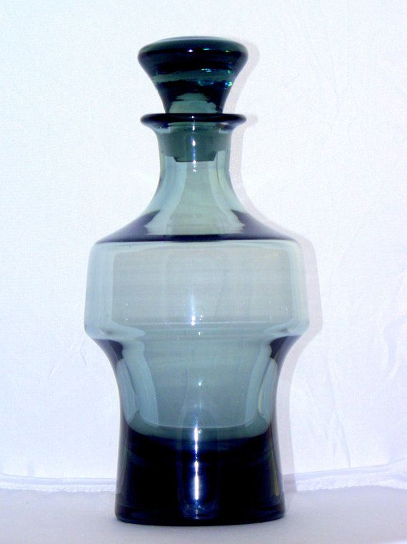 Czech Modernist Industrial Decanter, 1940s, Hantich Haida Novi Bor, Blue Smoke Glass on Etsy, $244.48