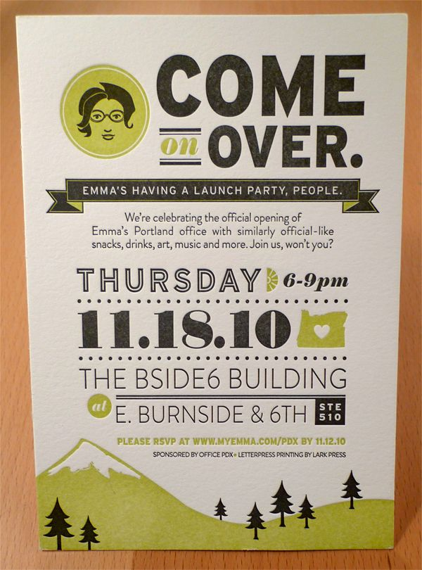Emma, Inc. Portland Open House by Allison Davis, via Behance - cute invitation for a lunch party.