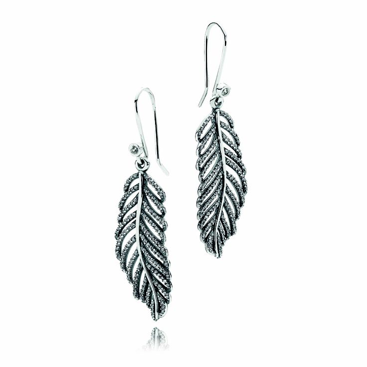 #PANDORA sterling silver feather earring pendants with microset cubic zirconia RRP $99 and sterling silver sparkly earring hooks RRP $25