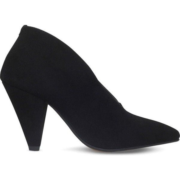 Carvela Andrew V-cut suede heels (£100) ❤ liked on Polyvore featuring shoes, pumps, suede pumps, carvela shoes, block heel court shoes, high heeled footwear and high heel pumps