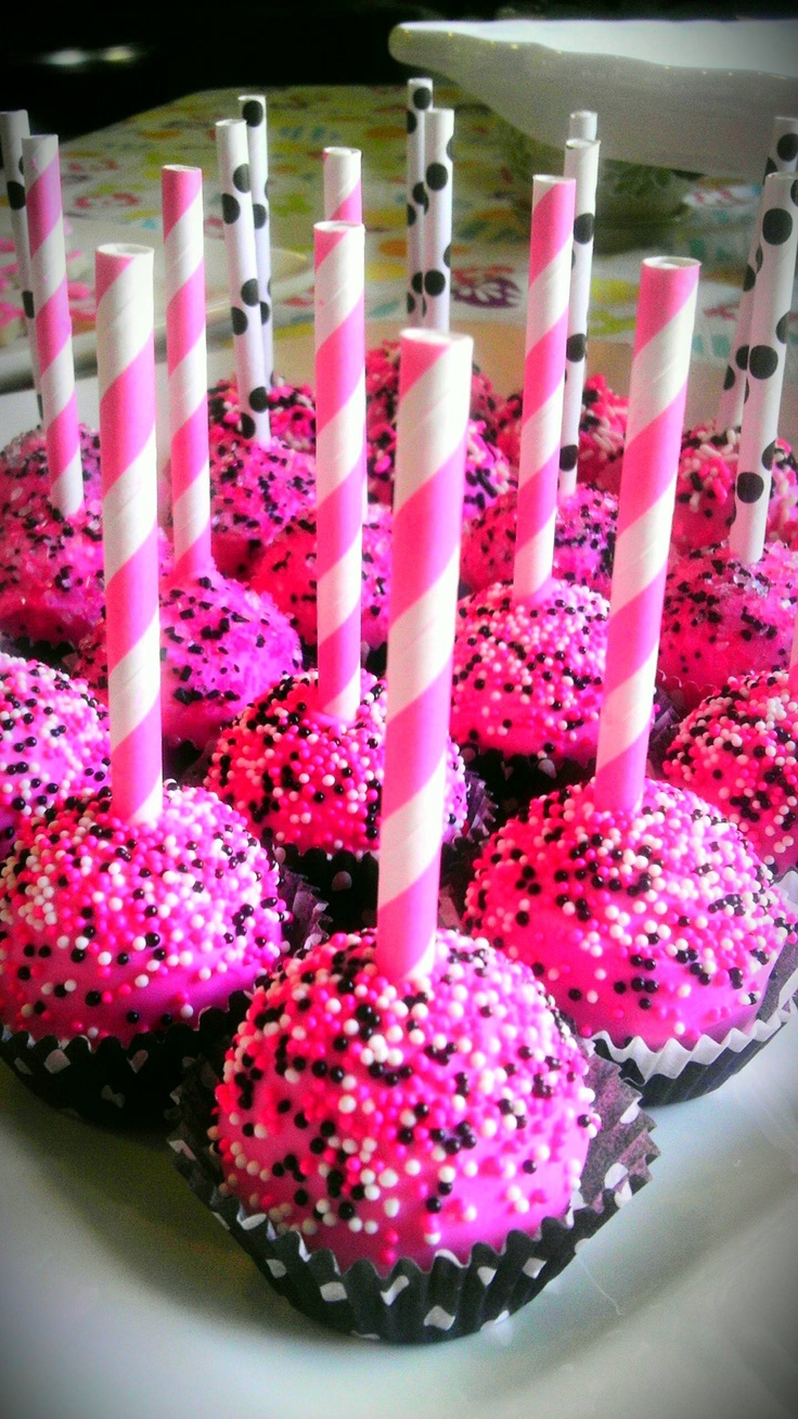 My strawberry cake pops with striped hot pink and polka dot black straws