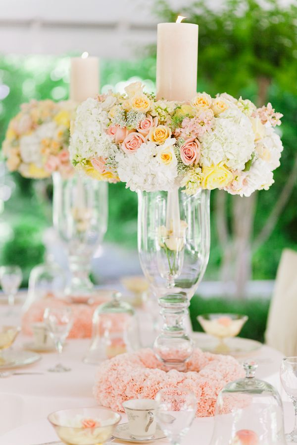 Pastel floral/candle wedding centerpieces {Photo by Annabella Charles via Project Wedding}