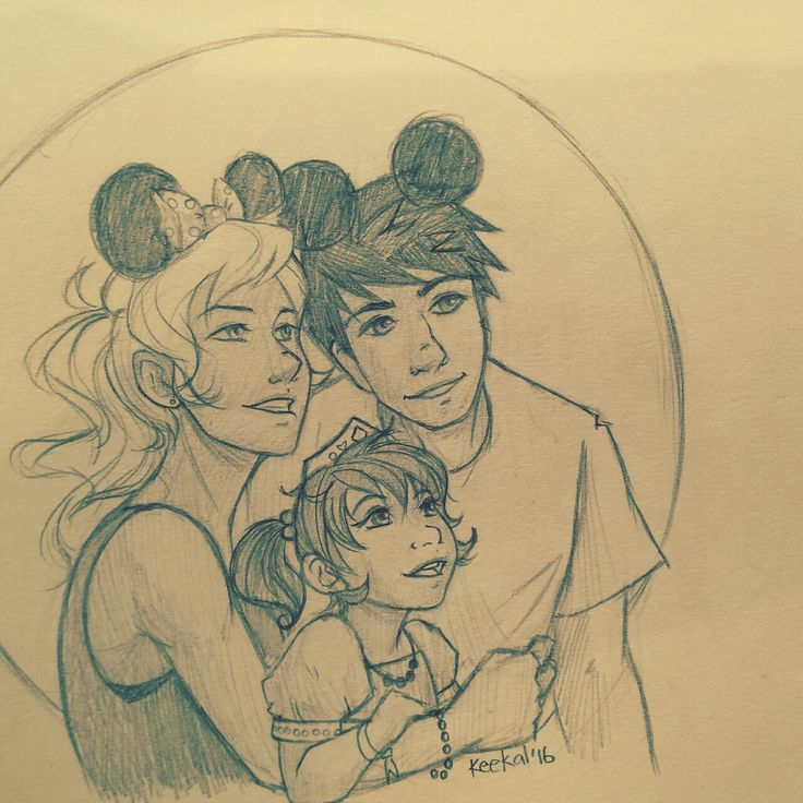 """keekal: """" Percy and Annabeth at Disney with a cute kid. You guys can decide if she's theirs or Percy's kid sister. My guess was they'd have Mickey ears and the kid would be all princess-y. Since going to Disney I really wanted to draw them there too...."""