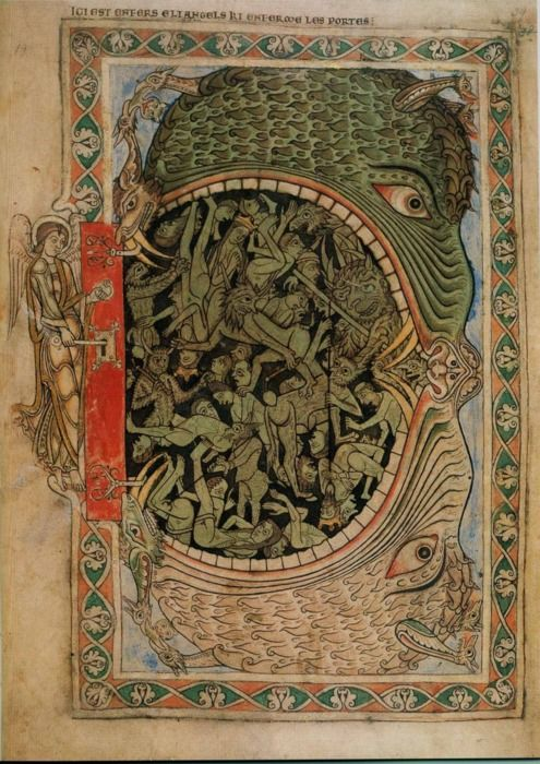 "The Mouth of Hell from the Winchester Psalter, 1220s. ""As he finished speaking all these words, the ground that was under them split open; and the earth opened its mouth and swallowed them up, and their households, and all the men who belonged to Korah with their possessions."" (Book of Numbers 16:31-33)."