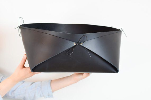 Here is a huge #scandinavian style leather basket that I've made! Perfect for blankets cushions magazines or firewood! #leather #modern #handmade #unique #scandinaviandesign #scandi #nordic #nordicdesign #minimalist #blanketbox #moderndecor #interiordesign #rusticchic #modern #contemporary #luxuryhomes #scandinavianhomes #firewood #fireplace #storage