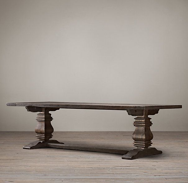 2285 Salvaged Wood Trestle Rectangular Extension Dining Table 72 72L