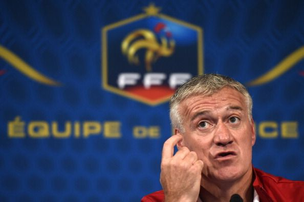 French national football team head coach Didier Deschamps gives a press conference at the Stade de France in Saint-Denis, north of Paris, on May 26, 2014, on the eve of France's friendly football match against Norway.