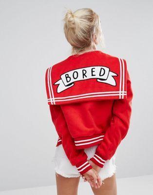 Lazy Oaf Varsity Jacket With Bored Badge