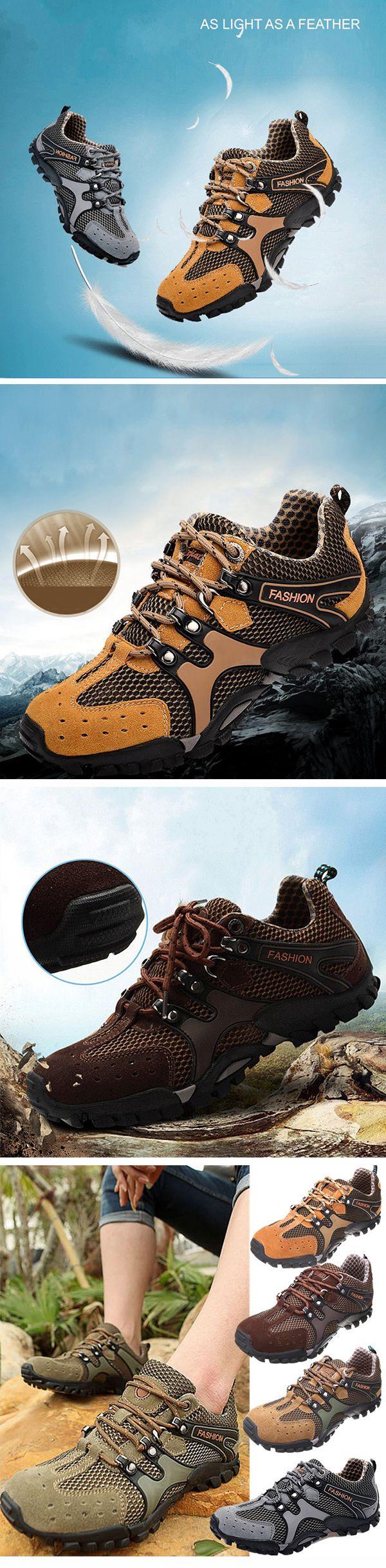 Men Mesh Hiking Slip Resistant Metal Buckle Outdoor Sport Sneakers
