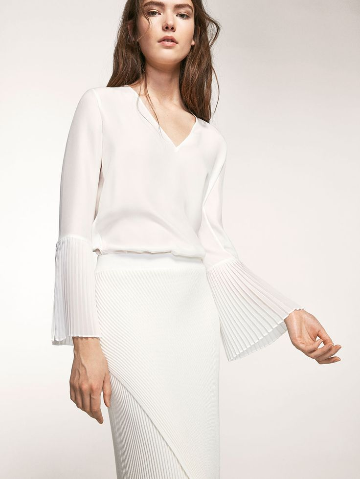 Autumn Spring summer 2017 Women´s BLOUSE WITH SLEEVE PLEAT DETAILS at Massimo Dutti for 89.5. Effortless elegance!