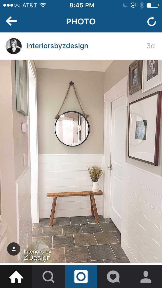 Shiplap / Colonnade Gray by Sherwin Williams / Interiors By Z Design #Narrowhallwaydecorating