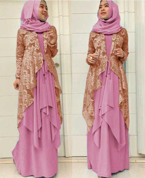 Gamis Online Brokat Modern Models Pink And Cardigans
