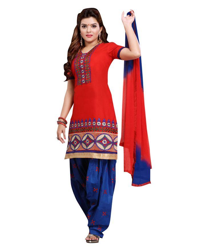 #Buy an #admirable #PatiyalaSalwarSuit in #RedBluecolour