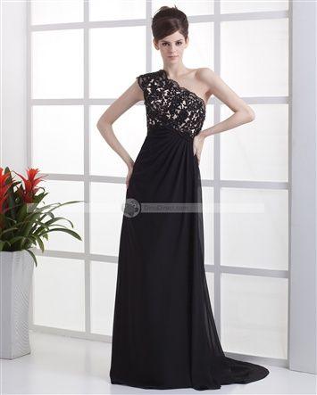 Amylinda™ Empire One Shoulder Floor Length Charmeuse Beading Ruffle Applique Women's Evening Dress